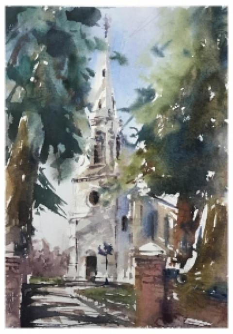 Saxby Church Pleinair Painting