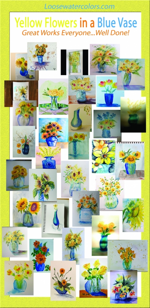 Yellow Flowers in a Blue Vase